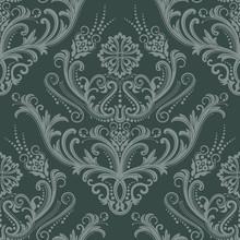 Luxury Green Floral Damask Wallpaper