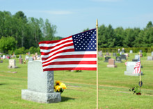 Small American Flag Waving In Cemetery