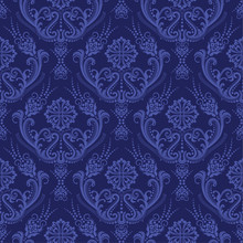Luxury Blue Floral Damask Wall...