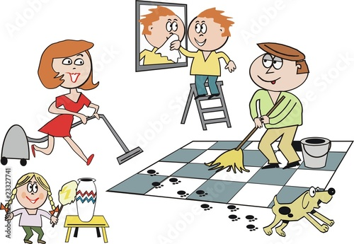 Family cleaning house cartoon - Buy this stock vector and explore ...