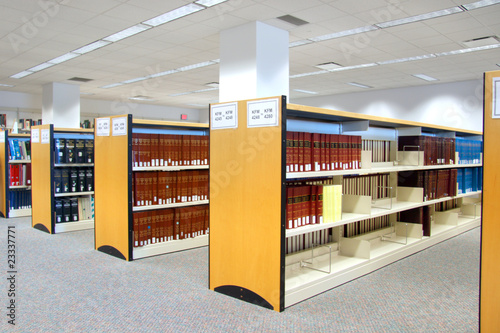 Poster Bibliotheque Book shelfs in university library