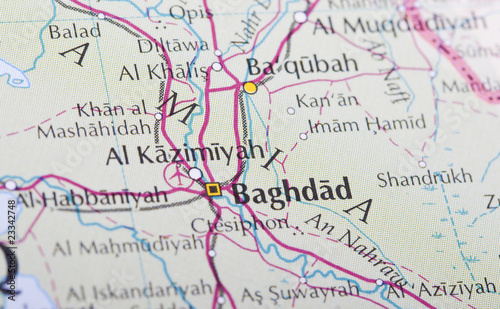 Baghdad map Tablou Canvas