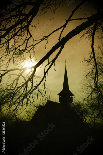 Fotografia  Dracula's land at sunset, church in Transylvania