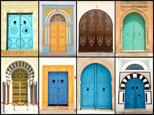 Set of beautiful decorative doors of Tunisia, Africa