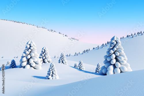 Foto op Aluminium Blauw winter landscape with fir trees