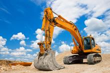 Yellow Excavator At Constructi...