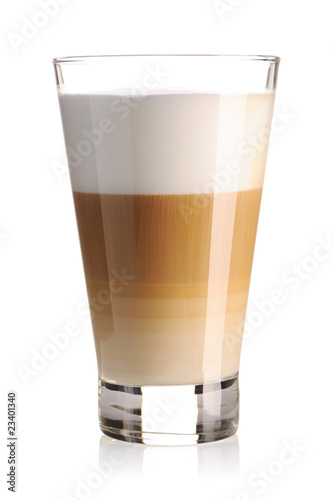 Obraz na plátně Latte coffee isolated on white