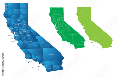 California State County Vector Map Tapéta, Fotótapéta