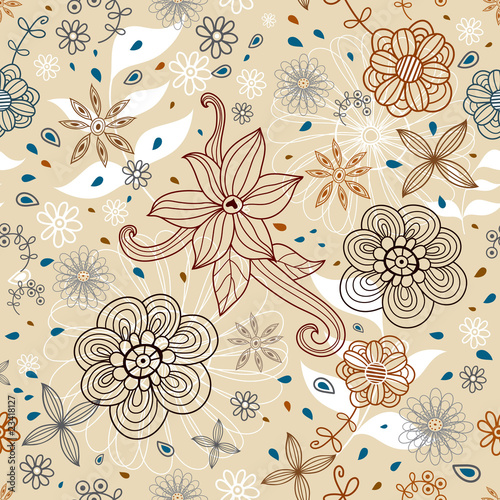 Floral decorative seamless pattern
