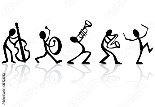 Band musicians playing music, vector ideal for t-shirts Poster