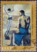"""Pablo Picasso """"A Girl On The Ball"""" - Postage Stamp"""