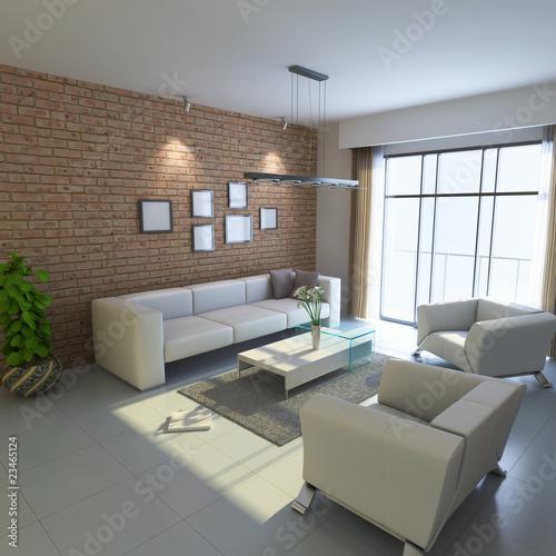Staande foto Industrial geb. 3d render modern living room