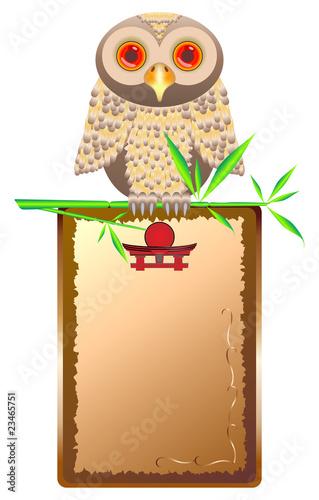 Poster Uilen cartoon Framework-menu and owi on bamboo