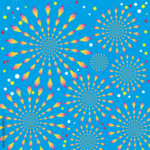 Wall Murals Psychedelic Exploding Fireworks (motion illusion)