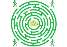 Green Labyrinth With Man And M...