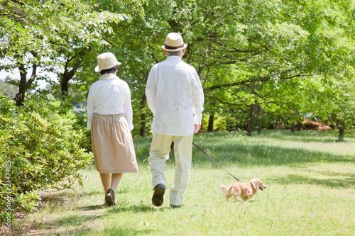 犬と散歩する老夫婦 Fototapeta