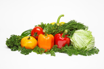 Different fresh tasty vegetables isolated on white. XXL.