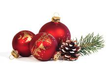 3 Weihnachtskugeln Mit Tannenz...