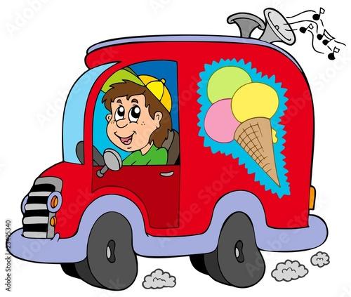 Fotobehang Boerderij Cartoon ice cream man in car