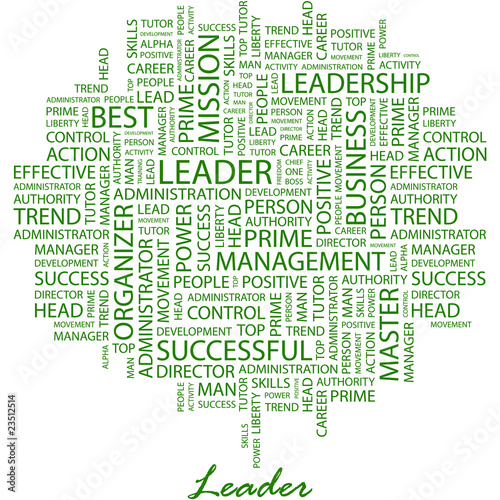 LEADER. Word cloud concept illustration. Poster