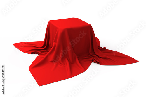 Fotografía Box covered with a red cloth