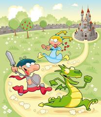Zmaj, princ i princeza s pozadinom. Vektorska scena.