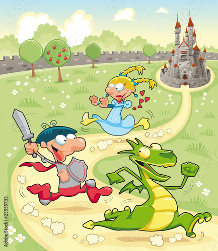 Staande foto Kasteel Dragon, Prince and Princess with background. Vector scene.