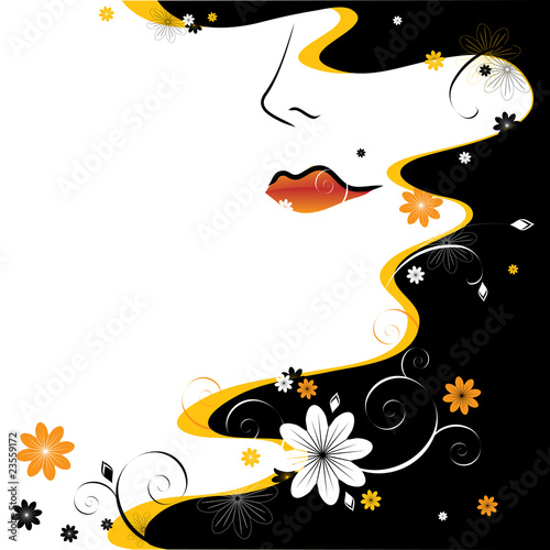 Floral femme abstract female face