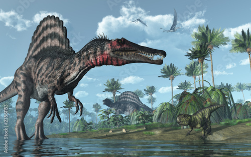Photo  Prehistoric scene with Spinosaurus and Psittacosaurus Dinosaurs