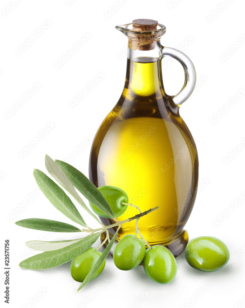 Fototapety, obrazy: Branch with olives and a bottle of olive oil isolated on white