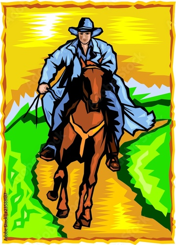 Aluminium Prints Wild West Cowboy.