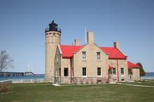 Mackinac Point Lighthouse And Bridge