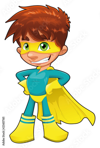 Poster Superheroes Young superhero. Vector character, isolated object