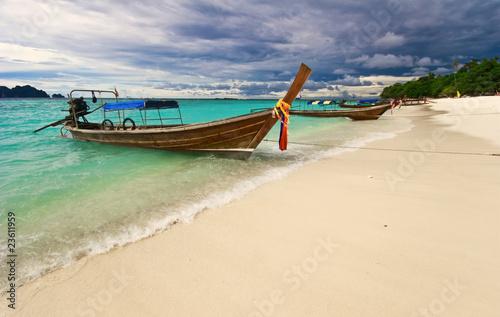 Thai boat near the beach. Phi Phi island. Thailand