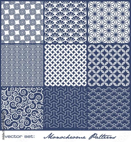 Papiers peints Artificiel set of monochrome geometric patterns (seamless)