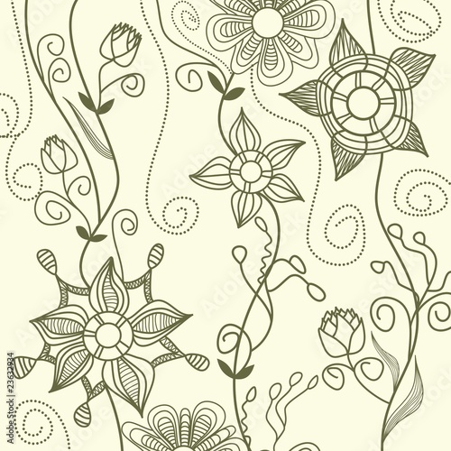 Poster Floral black and white Graphic floral pattern