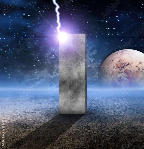 Foto op Canvas UFO Monolith on Lifeless Planet