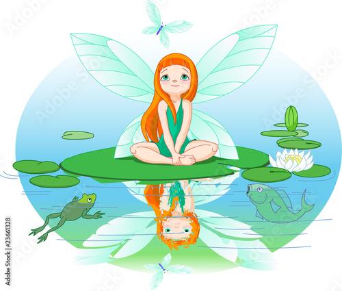 Foto auf Gartenposter Die magische Welt Fairy observes for flying butterfly