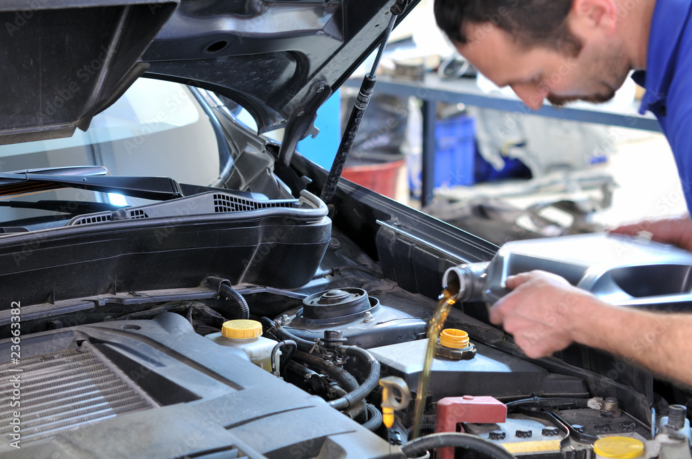 Fototapety, obrazy: Oil change - Model and oil motion blurred