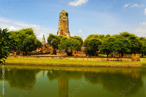 Staande foto Temple ruins of temple, Ayutthaya, Thailand