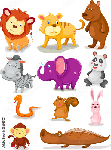 Deurstickers Zoo wild animals set