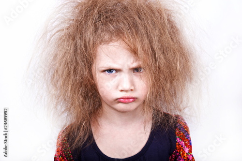 Fotografie, Obraz  funny girl with dishevelled hairdress