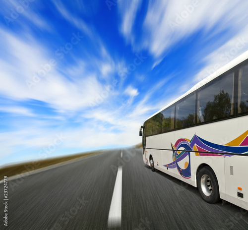 Tour bus with motion blur