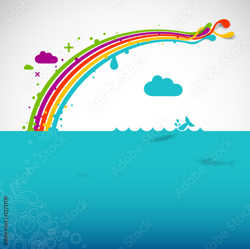 In de dag Regenboog Rainbow over the ocean
