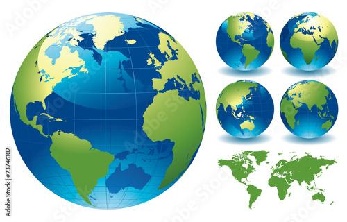 Fotografie, Obraz  World Globe Maps