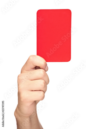 Hand holding a red card isolated on white background Wallpaper Mural