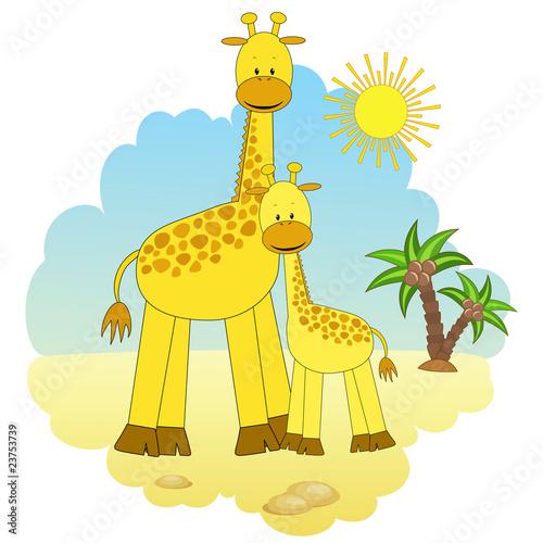 Foto op Aluminium Zoo Mother-giraffe and baby-giraffe.