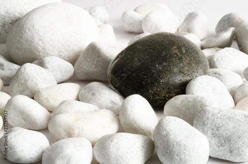 Schwarzer Stein inmitten weißer Kieselsteine #23759937