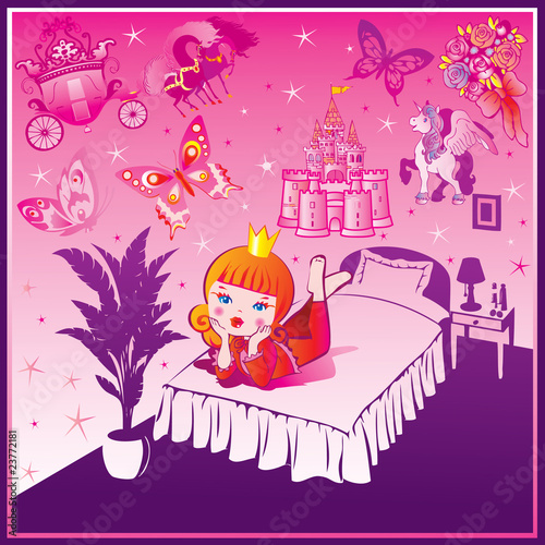 Poster Castle Dream Princess. Fairy-tale. Vector art-illustration.