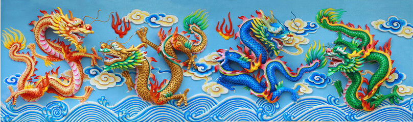 Fototapeta four color chinese dragon
